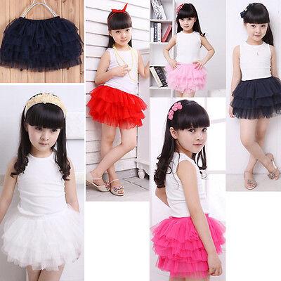 Fashion Cute Princess Skirt Chiffon Layered Dress Tutu Baby Kid Girl Party Dance