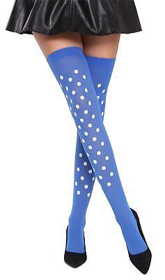Calze Calze Donna Sopra Al Ginocchio Halloween Carnevale Blu Bianco Pois Bb-037