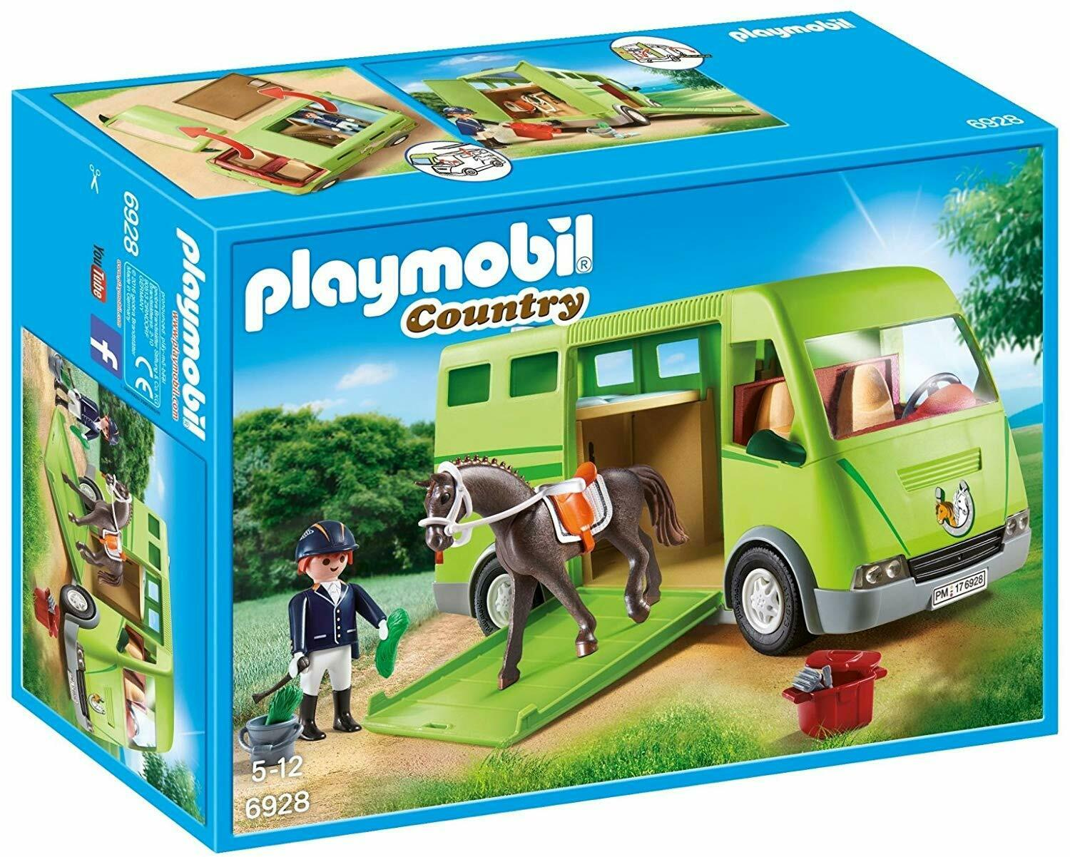 Playmobil Country Country Country Horse Box Opening Sliding Side Door Educational Kids Playset 28f8c4