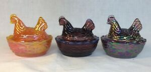 Summit-Art-Glass-Set-Of-Three-Covered-Rooster-Chick-Salts