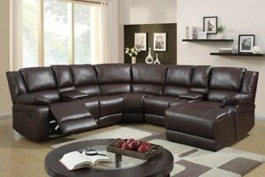 Image Is Loading 5pc Brown Bonded Leather Reclining Sofa Recliner Sectional
