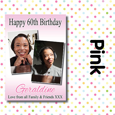 ANY NAME,ANY EVENT A009 PERSONALISED 2 PHOTO BIRTHDAY PARTY BANNERS ANY AGE