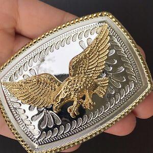 NEW HIGH QUALITY Eagle American Flag Belt Buckle Western COWBOY SILVER Metal