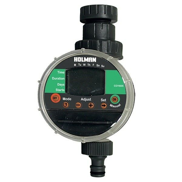 Holman LCD Programmable Electronic Water Tap Timer Battery Operated Rubber Cover