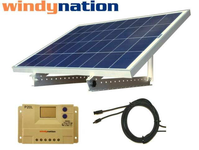 Portable 100 Watt 100W 12V Solar Panel Kit + Mount RV, Cabin, Off-Grid Battery