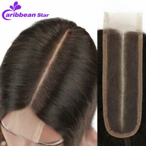 Brazilian-Straight-Wave-Lace-Front-2x6-039-039-Middle-Part-Closure-Virgin-Human-Hair