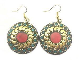 Boho Tibet Brass Earrings Tribal Ethnic Festival Jewellery Polished Round