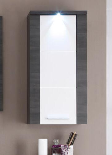 Badschrank Hängeschrank weiß Esche grau Badezimmer Hänger Xpress LED Beleuchtung