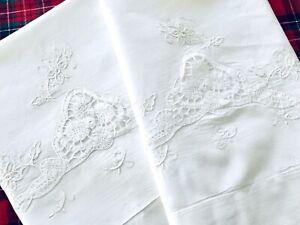 VTG-King-Madeira-Fine-Linens-Pillowcases-Shams-CUTWORK-EMBROIDERY-Flowers-UNUSED