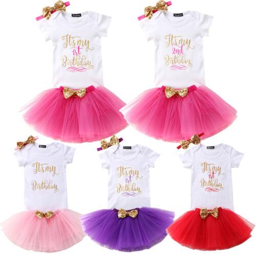 Baby Girl 1st 2nd Birthday Dress T-Shirt Tutu Skirt Headband Costume Outfit Set