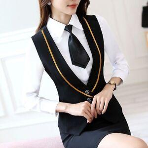 Lady-Business-Work-Vests-Sleeveless-Slim-Waistcoat-Gilet-Tuxedo-Tops-Bar-Uniform