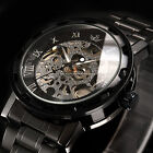 Men Classic Transparent Steampunk Skeleton Mechanical Stainless Steel Watch BD