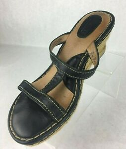 Born-Black-Leather-Wedge-Sandals-T-Strap-High-Heel-Womens-Size-10