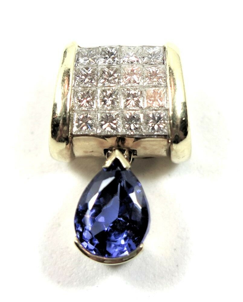 4f18966721578 DIAMOND CT 2.75 & TANZANITE CT 1.75 YELLOW 18K SLIDE gold Grams 7.1 ...