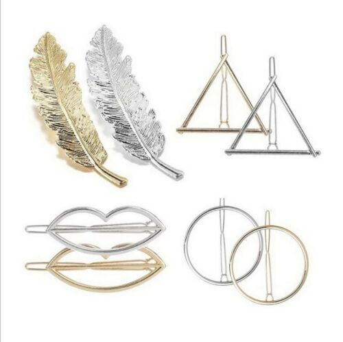 Hair Pins Grips Feather Circle Triangle Moon infinity Metal Geometic Hair Clip