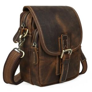 Vintage-Men-039-s-Genuine-Leather-Small-Messenger-Shoulder-Bag-Waist-Packs-Bag-Brown