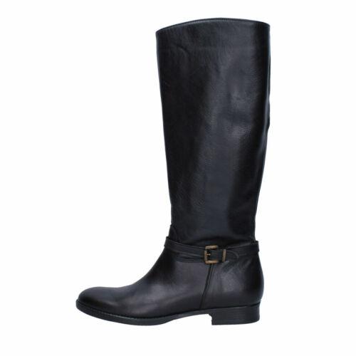 TREND scarpe donna stivali stivaletti color nero in pelle