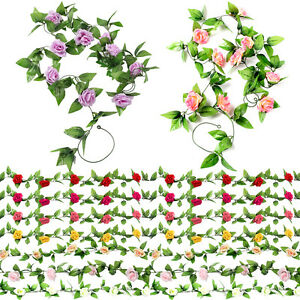 2x8ft artificial rose garland silk flower vine ivy wedding garden image is loading 2x8ft artificial rose garland silk flower vine ivy mightylinksfo