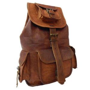 Mens Leather Laptop Backpack Shoulder Messenger Bag Rucksack Sling Vintage # 3