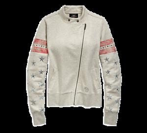 96853-19VW-HARLEY-DAVIDSON-WOMEN-039-S-FLAG-FASHION-JACKET-HEATHERED-GREY-NEW