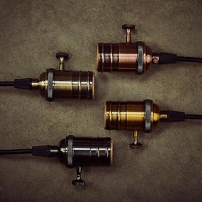 E27 Solid Brass Light Screw Bulb Socket Vintage Industrial Lamps Pendants Knob