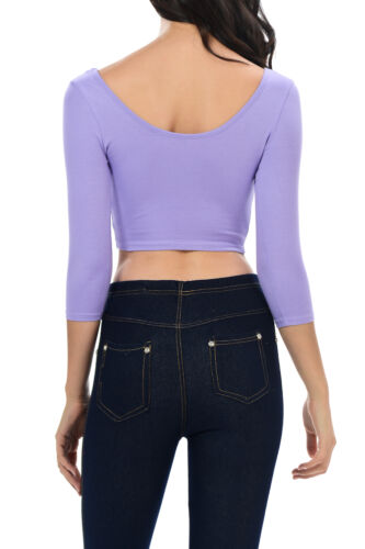 New Womens Trendy Solid Color Basic Cropped Top Croptop Scooped Neck Tee Shirt