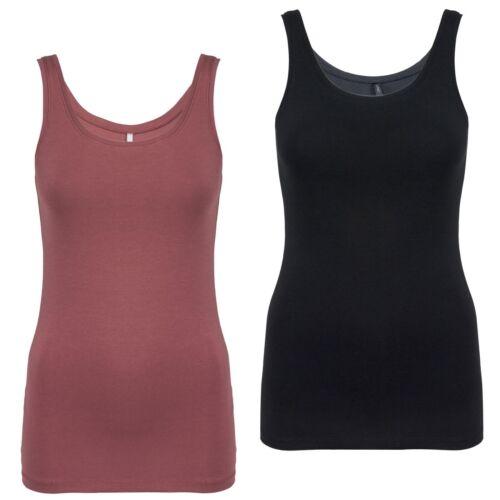 ONLY Damen Tanktop Shirt schlichtes tailliertes Top mit Rundhals-Ausschnitt