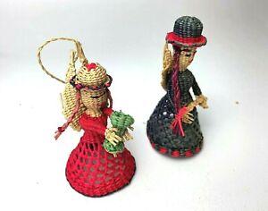 Vintage-Handmade-Wicker-Angels-Christmas-Ornaments