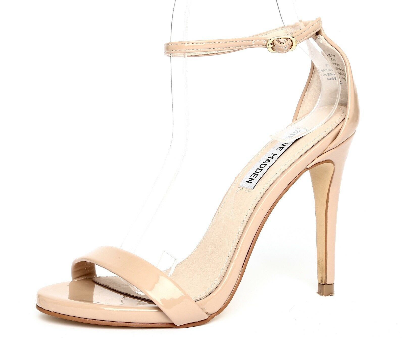Steve Madden Stecy Patent Leather Nude Ankle Strap Sandal Heels Sz 5.5M 1851