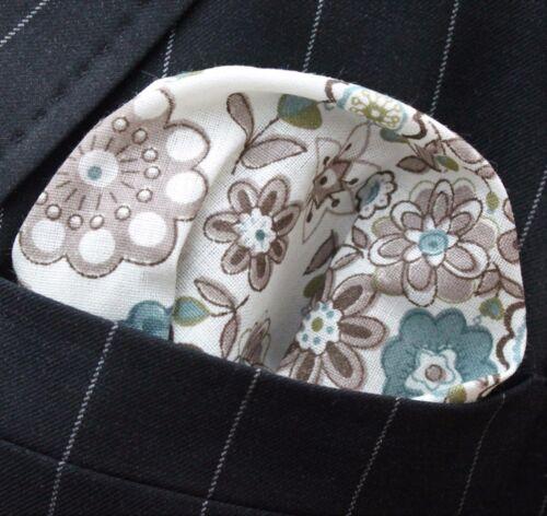Fazzoletto Tasca SQUARE Fazzoletto di cotone bianco marrone blu//verde Floreale CH073