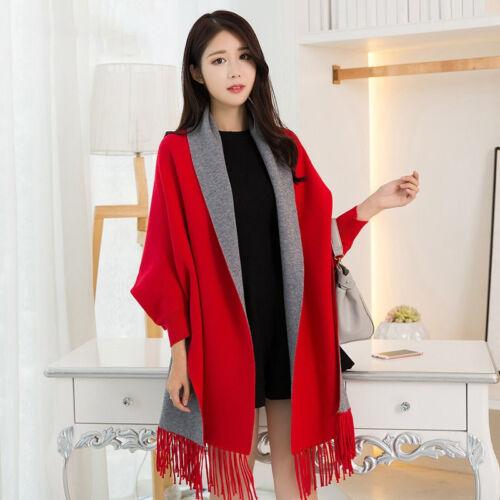 Poncho Femmes Châle Cape Winter Wrap Chaude Manteau Fashion Doux avec Manches NEUF