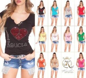Koucla Shirt Top  T-Shirt mit Rissen und Strass