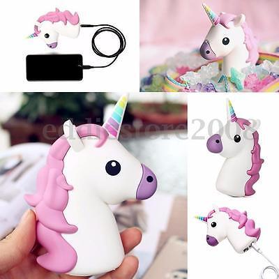 White & Pink Unicorn Shaped Portable 2600mAh Charger Power Bank Backup Battery