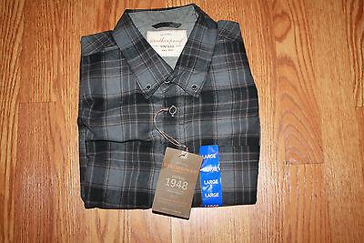 NWT Mens WEATHERPROOF Vintage Long Sleeve Asphalt Plaid Flannel Shirt M Medium