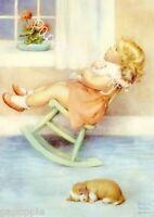 Bessie Pease Gutmann Fabric Block Toddler Girl Image Printed Onto Fabric