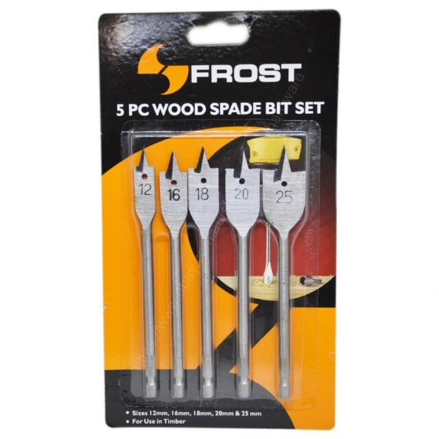FROST 5 Pieces Metric Spade Bits 12mm,16mm,18mm,20mm,25mm for Timber 92286