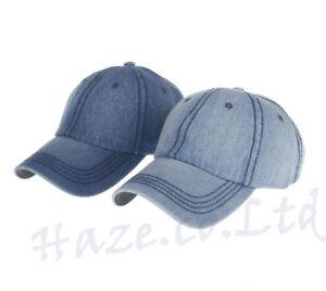 Solid-Blue-Jean-Plain-Denim-Dad-Baseball-Ball-Hat-Curved-Bill-Adjustable-Good