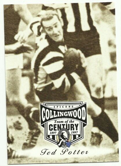 AFL 1997 COLLINGWOOD #38 TED POTTER SPICERS TEAM OF THE CENTURY CARD