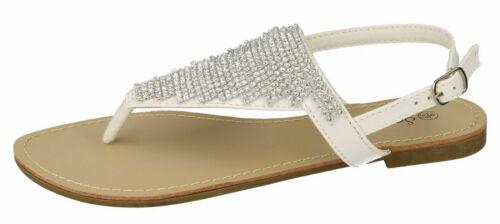 R30A Savannah F0R827 Ladies White Diamante Toe Post Sandal