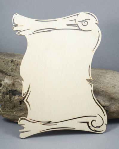 LARGE 20cm x 15cm scroll plaque blank Birch Plywood Laser Cut Wooden MDF Wedding