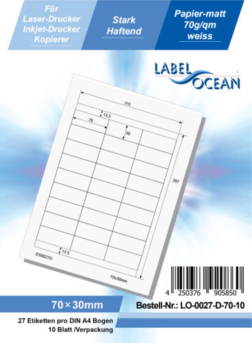 Láser Inkjet Copiadora 10 Hoja Etiquetas Adhesivas Din A4 Blanco 70x30mm