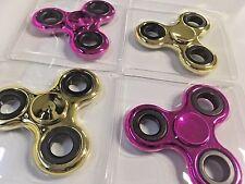 Lot 4 Fidget Hand Spinner Metallic Shiny Fidgit Spinner USA SELLER! FREE SHIP