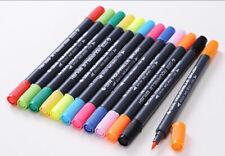 Dual Brush Pen Set Tinte auf Wasserbasis 24 Farben Doppelfasermaler Schwarz