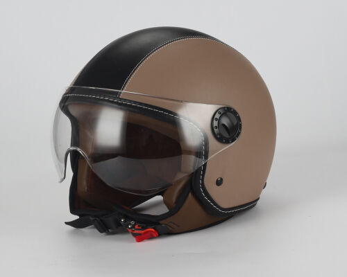 CASCO MOTO BHR DEMI-JET MOD ONE 801 IN PELLE BEIGE