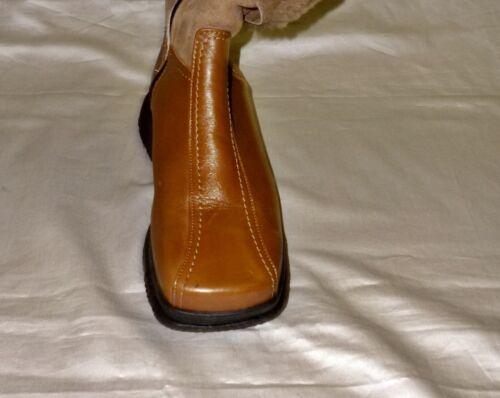 Botas de invierno cuero genuino lana virgen toffee marrón, talla 36/UK 3 ancho: g