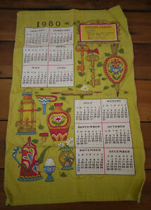 Vintage 1980 Calendar Linen Kitchen Hand Tea Dish Towel Dutch German