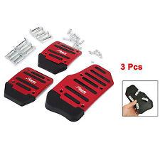 Aluminium Alloy Brake Cover Pad Small Car Non Slip Pedal Foot Treadle Red 3 Pcs
