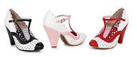 Ellie Shoes Paige 4 Heel T Strap Buckle Polka Dot Vintage Retro 50's Half Sizes