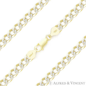 5mm-Curb-Cuban-Link-925-Sterling-Silver-w-14k-Yellow-Gold-Italy-Chain-Bracelet