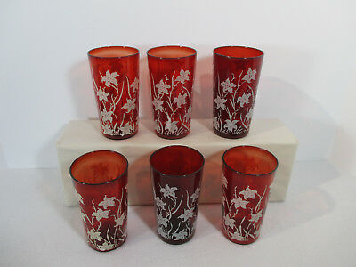 Glasses Tumblers Ruby Red White Lilies Vintage Anchor Hocking Juice Set of 6